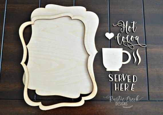 DIY Christmas Craft Kit - Hot Cocoa Served Here - Wood Sign - Wood Cutouts - Girls Night - Neighbor Gift
