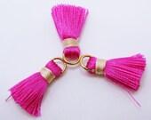 Pink Tassels, Cotton Tassels, Gold Plated Jump Rings, 3pcs, Approx 20mm, TSL20MM4, Jewelry Supplies, Craft Supplies, Zardenia