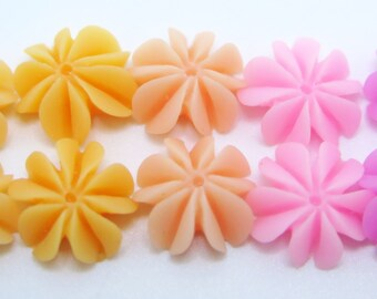 10PCS - Mini Coral Cabochons - Resin - Mixed Pastels - Sampler Pack - 10mm - Findings by ZARDENIA