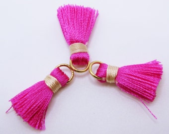 Pink Tassels, Cotton Tassels, Gold Plated Jump Rings, 3pcs, Approx 20mm, TSL20MM4, Jewelry Supplies, Craft Supplies, Zardenia