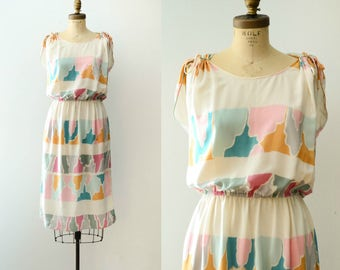 Vintage 1980's Mary McFadden Silk Color Block Dress