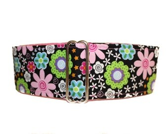 Floral Martingale Collar, 2 Inch Martingale Collar, Pink Dog Collar, Whippet Collar, Handmade Martingale Collar, Dog Lovers Gift Idea