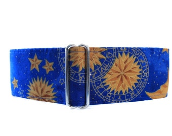 2 inch Martingale Collar, Celestial Martingale Dog Collar, Sun Moon Stars Martingale, Blue Dog Collar, Celestial Dog Collar