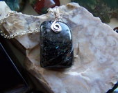 Reserved for Jan - Ancient Greenland Nuummite Natural Polished Stone Pendant
