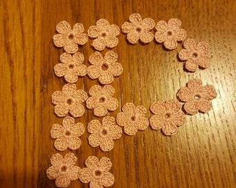 Flowers applique, crochet, pink, flowers, crochet flower embellishments, baby pink applique, tiny flowers, set of 25,  Size  3/4 inch