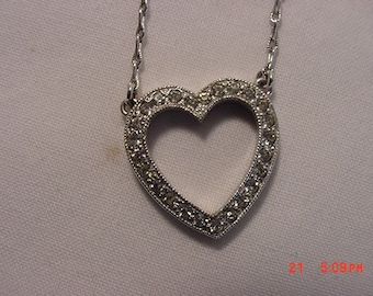 Vintage Sterling Silver Rhinestone Heart Necklace  16 - 645