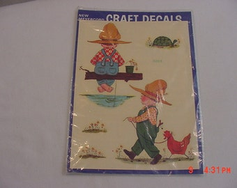 Vintage Meyercord Decorator Decal Sheet Little Boy With Chicken & Fishing   17 - 296