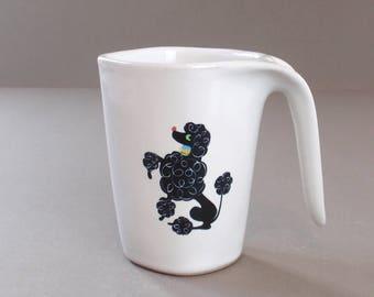 Vintage Glidden Black Poodle Stoneware Pottery Pitcher Mug