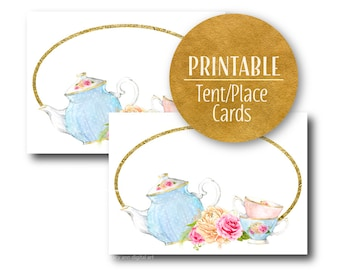Tea Party Buffet or Tent Place Cards | Printable Buffet Cards Place cards |  Printable | 1566 1563