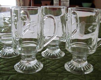 4 Princess House Crystal Glass Irish Coffee Mugs Etched Heritage Pattern