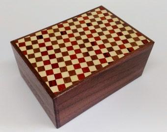Japanese Puzzle box (Himitsu bako)- 4.5inch(115mm) 12 steps Walnut / Checkered pattern
