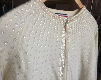 1950's Sequined Cardigan Sweater / White Lambswool / Medium