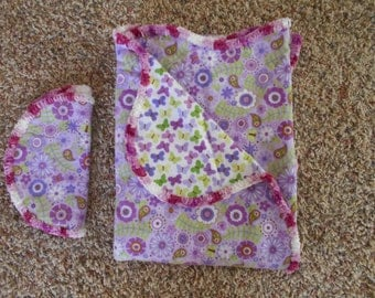 Hem Stitch Baby Girl - Purple, Lavender, Lime Green Floral Flannel Receiving Blanket and Burp Cloth