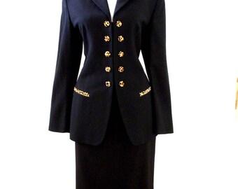 80s Black Wool Crepe Suit with Leopard Collar and Trim  Jules Miller - Vintage Black Crepe Suit - Skirt Jacket - Size 12 to 14 Medium Large