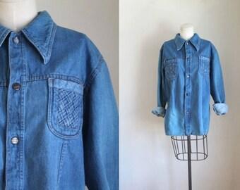 vintage 1970s denim shirt - WRIGHT light denim jacket / L/XL