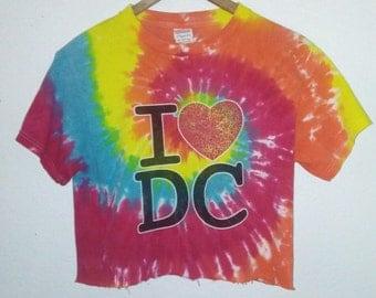 DC / Crop Top / Midriff Tee / Belly Shirt / Tie Dye / Bohemian / Boho / Hippie / Indie / Grunge / RockNRoll / Rainbow Colors / Heart / Love