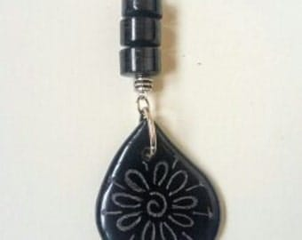 Recycled glass necklace. Bailey's Irish Cream etched and beaded.