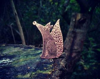 fox brooch, copper fox , fox gift