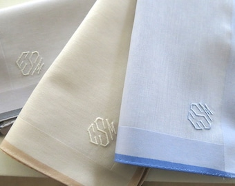 Mens Handkerchiefs Gift Set of 3 Assorted Color Fine Cotton, Style No. 2042 with Monogram Style No. 4