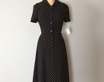 30% OFF WINTER SALE... polka dot maxi dress | button front dress | round collar parisienne dress
