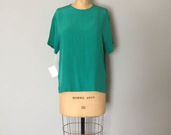 SALE...turquoise green silk blouse | button back silk top