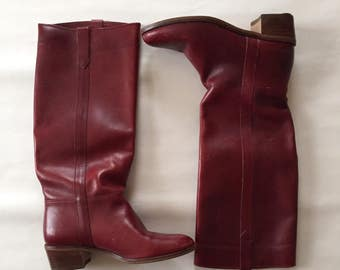 oxblood red riding boots | leather equestrian boots | tall boots | 7.5