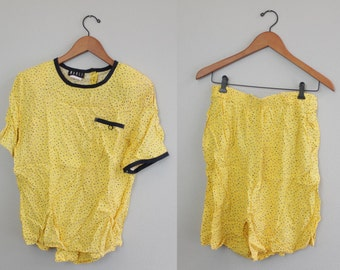 Vintage 80s Yellow and Black shirt and Short set by Marli Mode