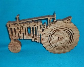 Farm Tractor Wooden Scroll Saw Puzzle