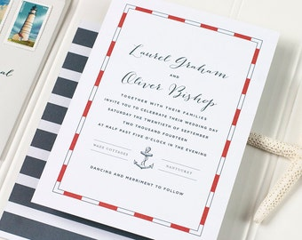 Nautical Wedding Invitation, Anchor Wedding Invitation, Destination Wedding, Letterpress, Foil Stamp, Flat Printing - Nantucket - DEPOSIT