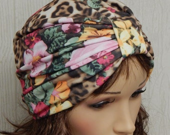 Women's full turban hat, floral head wear, jersey stretchy turban, bad hair day head covering, elastic hats, alopecia head wrap