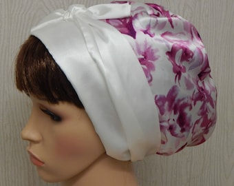 Satin head scarf, women's head covering, pink and cream headscarf, silky sleeping head wrap, Jewish tichel, full head cover, satin hair wrap
