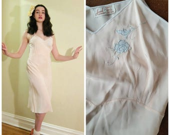 Vintage 1940s Saab Lingerie Slip Dress Peach Pink Bias Cut Rayon / 40s Boudoir Lingerie Bur-Mil  Marshall Field Co Embroidered Flowers / Med