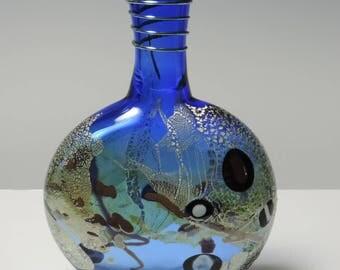 Handblown Glass Bottle Vase  Aqua with Silver Leaf