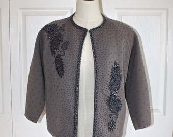 1950s Gray Wool Beaded Cardigan Sweater . Vintage 50s 60s Gorgeous Intricate Bead Detail Lined Cardy Jumper . Size Large Bust 38
