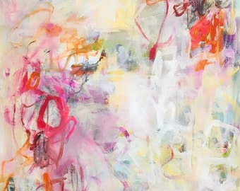 Large abstract expressionist colorful painting  -Ribbons 36 x 60