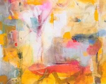 Colorful Abstract Expressionist Original Painting-  Spring Parade 24 x 36