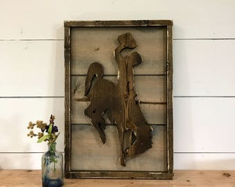 Rustic Wyoming Wood Decor - Wyoming Steamboat - Bucking Horse - Rodeo Home Decor- Cowboy Decor