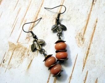 Peach Aventurine and Brass Leaf Boho Earrings (3250)