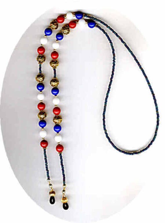 Patriotic Red White & Blue Glass Crystal Eyeglass Chain or ID Badge Lanyard 2