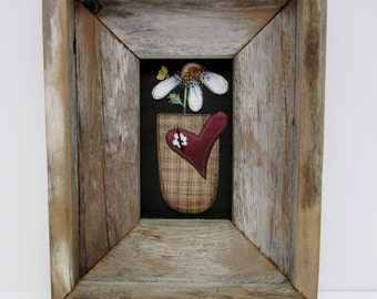 A Single Primitive Flower, Framed in Rustic Barn Wood, Tole Painted on Black Screen, Reclaimed Barn Wood, Hand Crafted Frame, Red Heart