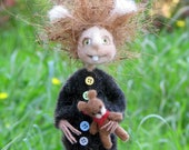 Fantasy doll, Needle felted doll, Woolen art doll, Spook with doll, Bogeyman with his toy, Home decor, Hallowen