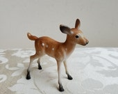 Vintage Deer Spotted Fawn Plastic Animal Statue Figurine Toy Woodlands Cake Topper, Art Supplies