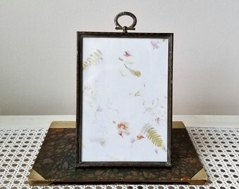 Vintage Silver Metal Embossed Picture Frame With Ring Top For Tabletop & Wall Decor