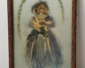 Antique Ethereal Woman Candlelight Portrait Litho Art Print In Wood Frame, Harrison Fisher Style Victorian Christmas