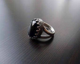 Onyx Ring, Sterling Silver, Oxidized, Size 7