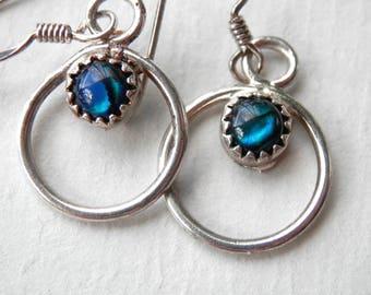 Silver Hoop Earrings Sterling Silver Hoops Hanging Dangle Hoops Blue Resin 1960s 1970s Hoop Earrings Silver Hoops Mod Jewelry Pacific Blue