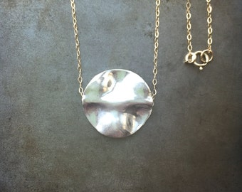 Wavy 23mm Disc on Gold Filled or Sterling Silver Chain