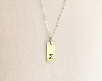 Rectangle Initial Necklace in Sterling Silver.