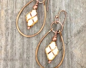 Geometric earrings, small dangle hoop earrings, unique earrings, unique jewelry