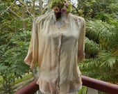 RESERVED // bohemian blouse - reborn silk and vintage lace - romantic - alternative - medium / adaptable sizing
